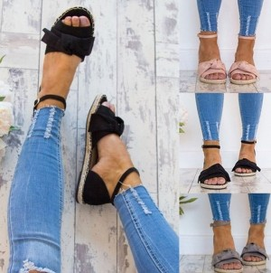 Womens Flat Heel Ankle Strap Shoes