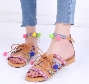 Rome Floral Print Leather Flat Sandals