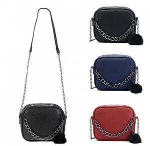 WOMEN PU LEATHER CHAIN MESSENGER BAG