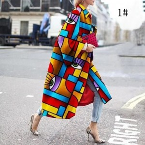 Geometric Print Color Loose Outwear