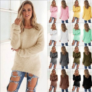 Womens Winter Casual Solid Long Sleeve Jumper Sweaters