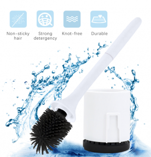 Silicone Toilet Cleaning Brush Kit with Soft Bristle Brush