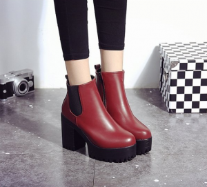 Womens Round Head Platform Winter High Heel Boots