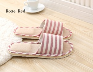 Striped Linen Four Season Indoor Slippers