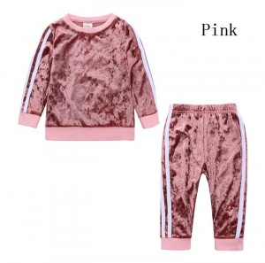 Girl Child Sports Striped Long Sleeve Suit