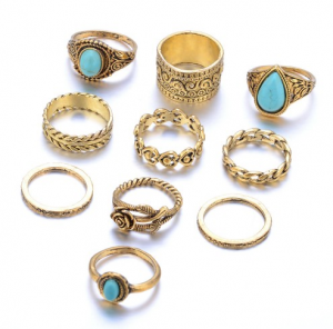 10PCS Vintage Turquoise Goldplated Silver Rings Sets