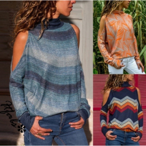 NEW FASHION LONG SLEEVE OFF SHOULDER TOPS