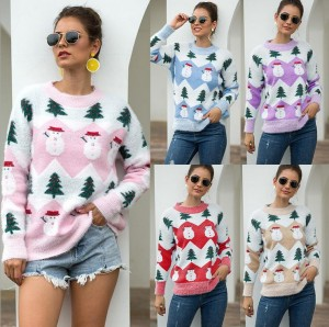 Women Jumper Knitted Christmas Tree Sweater