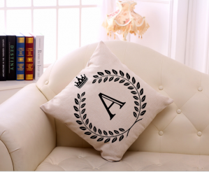 Letter Floral Pillow Cover