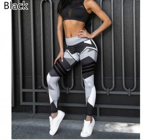 Fashion Block Printed Women Yoga Pants