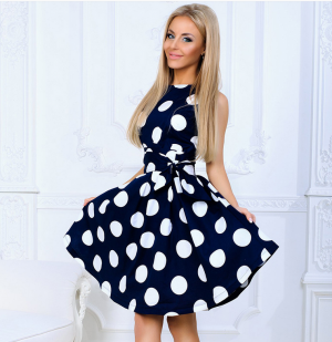 Women Dot A-line Sleeveless Short Dress