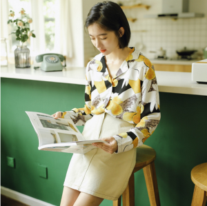 Floral Printed Long Sleeve Vintage Shirt Blouse