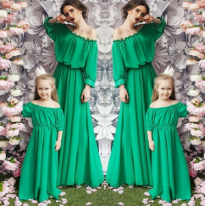Mother Daughter Family Off-shoulder Ruffles Long Dress