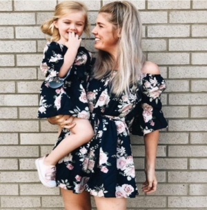 Mother Daughter Summer Off Shoulder Floral Dress