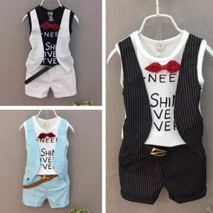 Striped Two-piece Suit Boys Summer Fake Two Tops