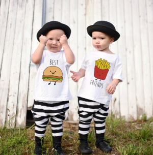 Kids Fashion Short Sleeve Hamburger Creative T-shirt