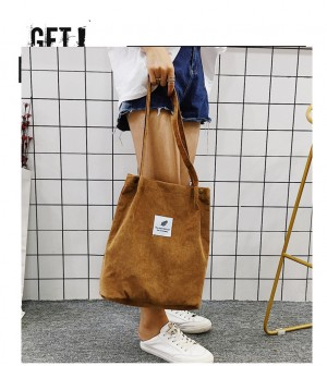 WOMEN FASHION CORDUROY CANVAS MESSENGER SHOULDER BAG