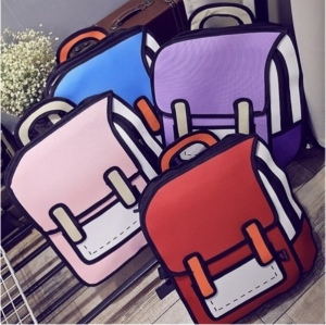 Women 2D Drawing Backpack 3D Jump Style Cartoon School Bag