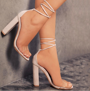 Women Block High Heels Ankle Strap Lace Up Party Shoes