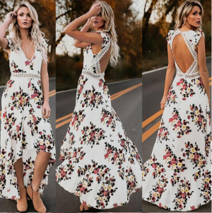 Irregular Summer Vintage Floral Print Backless Party Dress Sundress