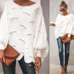 Women Hollow Out Bat Sleeve Loose Sweater Tops