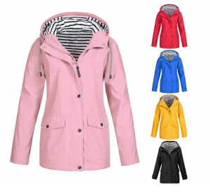 Ladies Waterproof Coat Outdoor Winter Rain Jacket