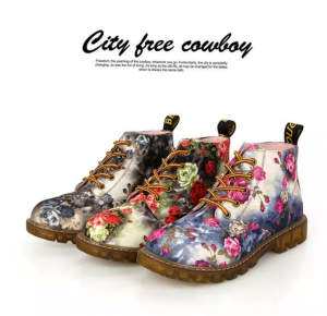 Women Ankle Floral Print Martin Lace Up Boots