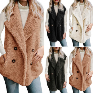 Women Faux Fur Waistcoat Sleeveless Winter Jacket