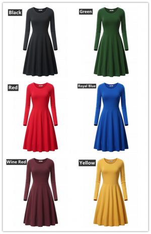 Women Round Neck Pleated Autumn Solid Midi Dress