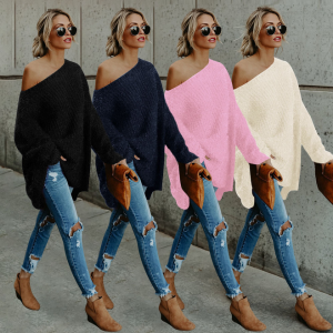 Fashion Off-shoulder Women Bat Sleeve Sweater Pullover