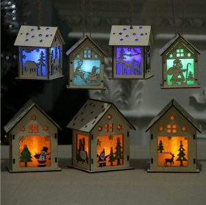Christmas Tree Hanging Wood House Light Home Decoration