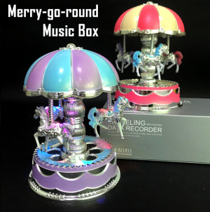 Christmas LED Rotating Toys Merry-go-round Music Box Gifts