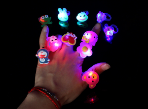 50 Pcs/Set Mixed Cute Cartoon Kids PVC Light Rings