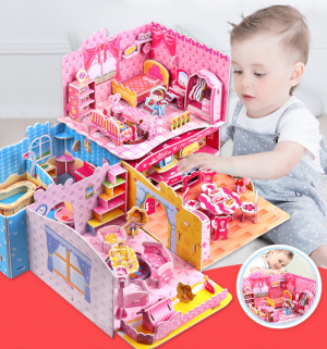 3D Stereo Puzzle Model Kids House Toys