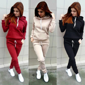 Fleece Women Sportwear Set Pocket Hoodie + Trousers
