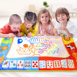 120*90cm Kids Magic Water Drawing Writing Mat With Pen Stamps Mould