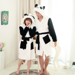 Winter Unisex Panda Animal Pajamas Bathrobe Sleepwear