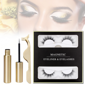 2 Pairs Magnetic Eyelashes Makeup With Eyeliner Tweezers Set