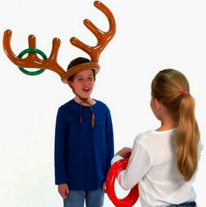 Inflatable Xmas Gifts Game Moose Toy Throwing Ring Hat