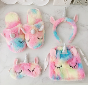 Winter Gradient Unicorn Hairband Eye Mask Plush Storage Bag Slippers