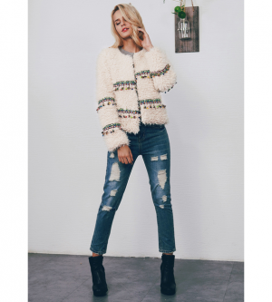 Fashion Winter Fringe Jacket Short Warm Outwear Coat
