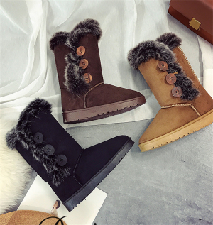 Women's Fashion Button Casual High Top Winter Snow Boots Shoes