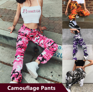 Fashion Casual Camouflage Trousers Women Streetstyle Pants
