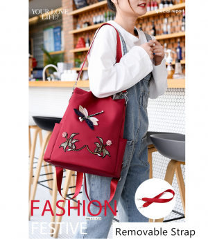 3D Embroidered Dragonfly Women Backpack Travel Bags