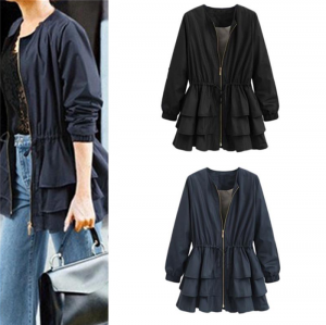Women Slim Ruffled Zipper Jacket Windbreaker Winter Coat