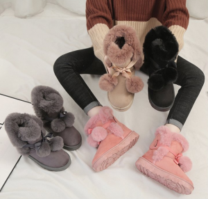Women Fashion Suede Snow Boots Fur Ball Shoes