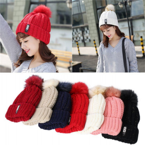 Adjustable Winter Wool Knit Cap Warm Fur Hat