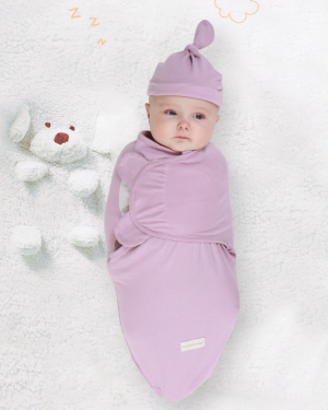 Baby Soft Cotton Blanket Hat Set Warm Swaddle Sleeping Bag