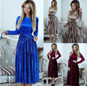 Long Sleeve Velvet Dress Women Ladies Bodycon Party Midi Dress