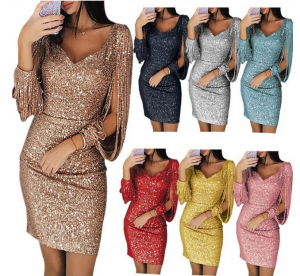 Sexy Ladies Casual Autumn Party Women Dress Glow Bodycon
